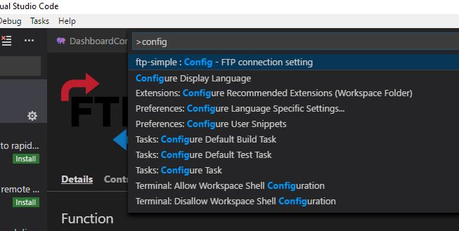 Add FTP/SFTP in Visual Studio Code